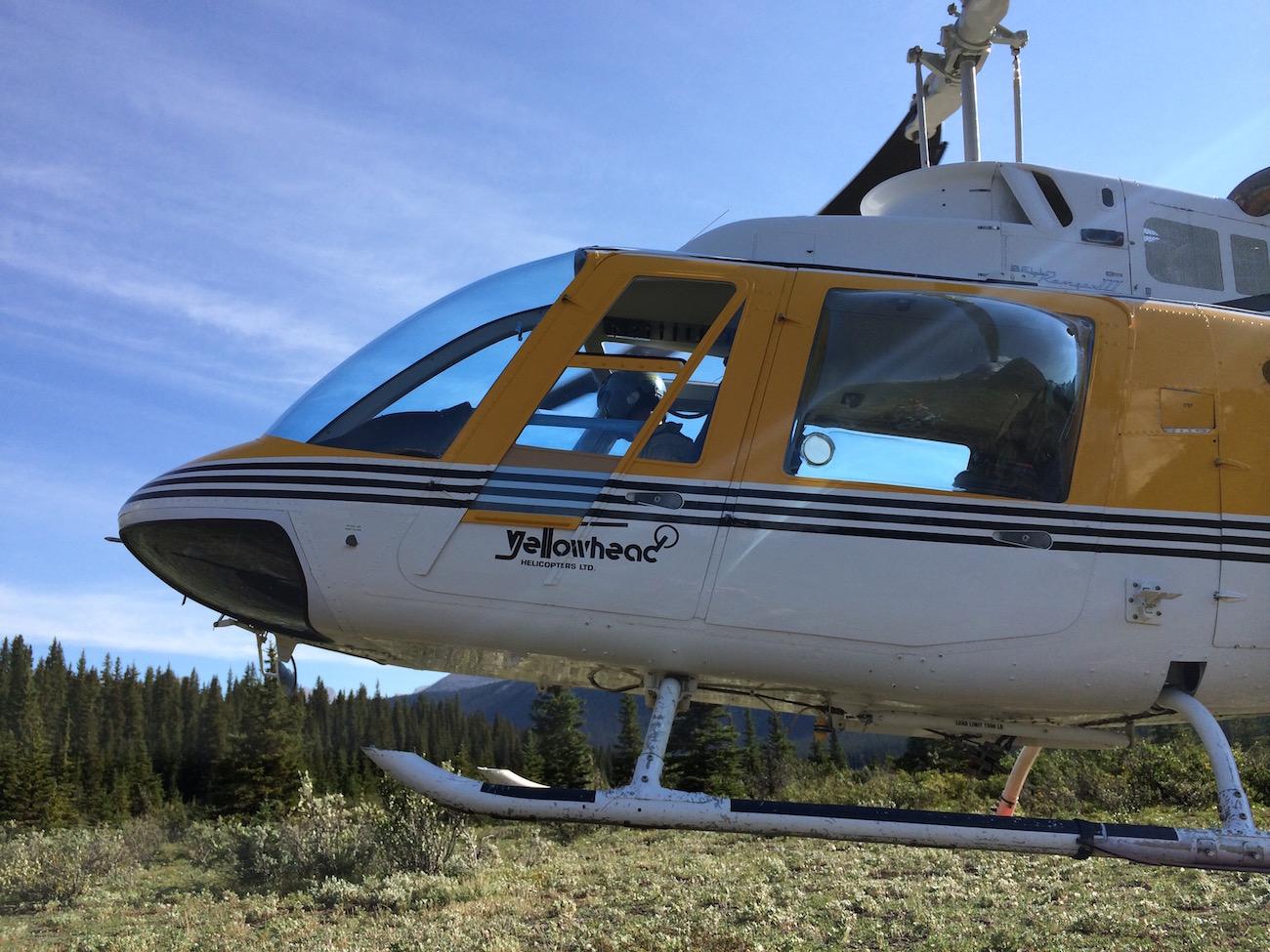 Mit dem Helikopter geht es los zum Heli-Hike am Mount Robson (Foto: Lisa Feldmann, Das Valemount).