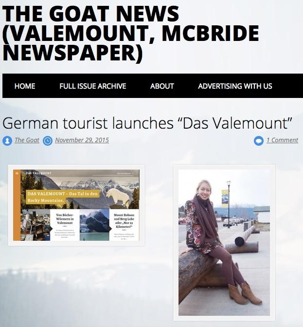 Ein Beitrag über DAS VALEMOUNT in Valemounts Wochenzeitung Rocky Mountain Goat News